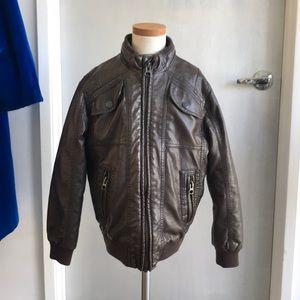 Zara Youth leather look bomber jacket